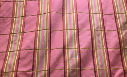 SALE! Designer 100% Silk Taffeta Dupioni Plaid Tartan Ribbon Fabric Pink