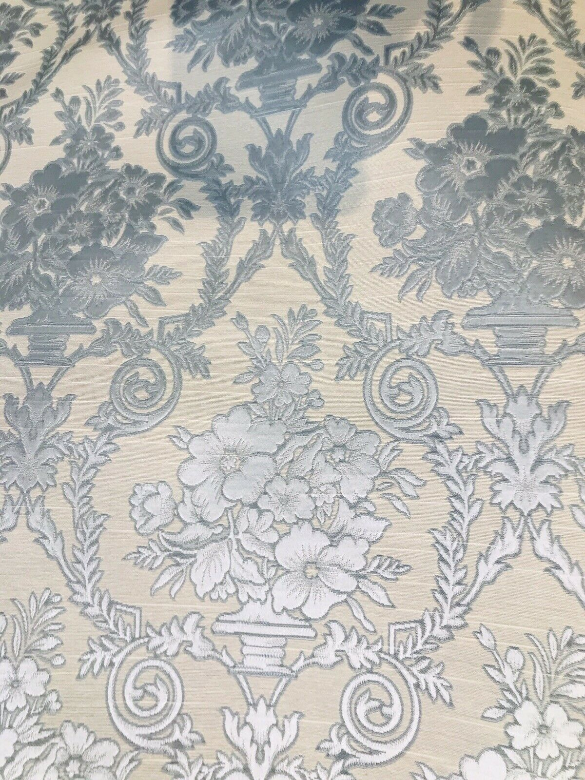 NEW! Designer Brocade Satin Fabric - Blue Neoclassical Floral Upholstery Damask