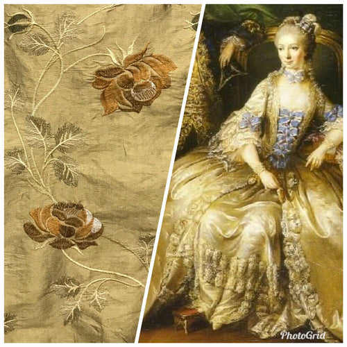 NEW! 100% Silk Dupioni Embroidered Floral Fabric- Gold Sold By The Yard