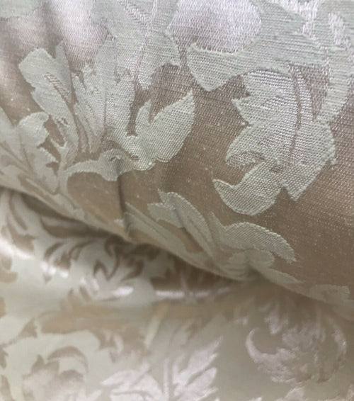 NEW! Designer Brocade Satin Floral Fabric- Antique Rose Gold -By The Yard