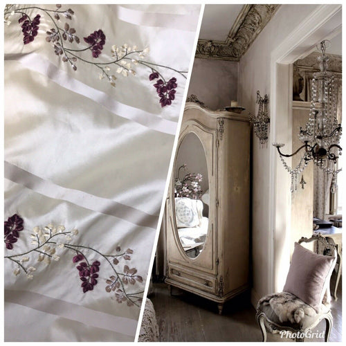 NEW Designer 100% Silk Taffeta Dupioni Floral Embroidery Fabric Cream Ivory