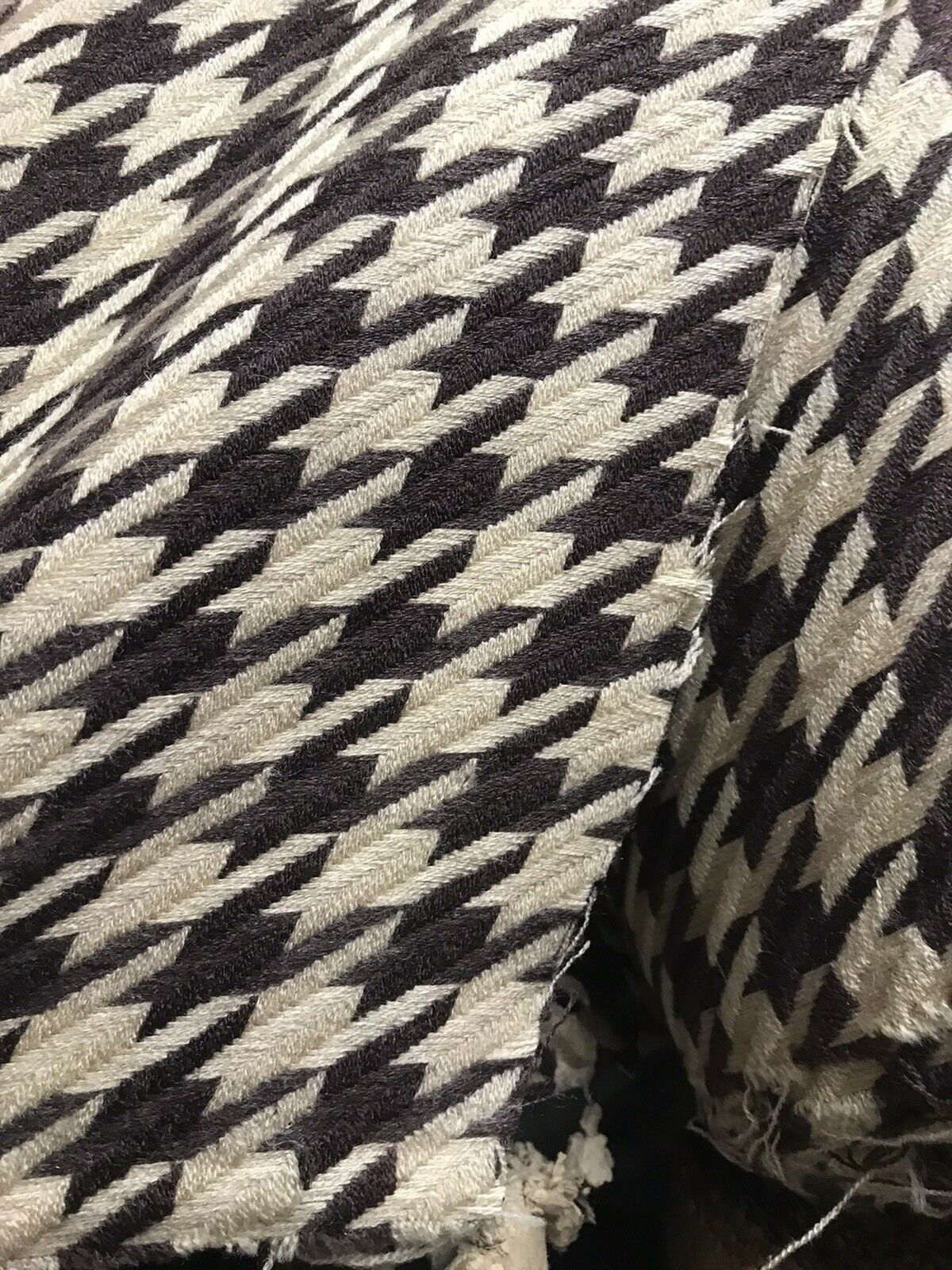 Novelty Designer Wool Oversized Pied de Coq Houndstooth Tweed Fabric - Brown