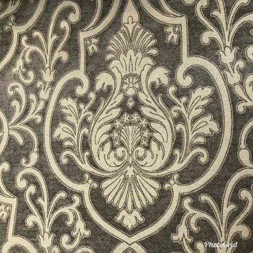 NEW Double Sided Burnout Chenille Velvet Fabric- Gray Upholstery Damask Brocade