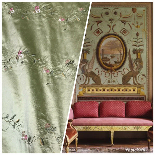 NEW! 100% Silk Dupioni Embroidery Floral Fabric- Green & Pink