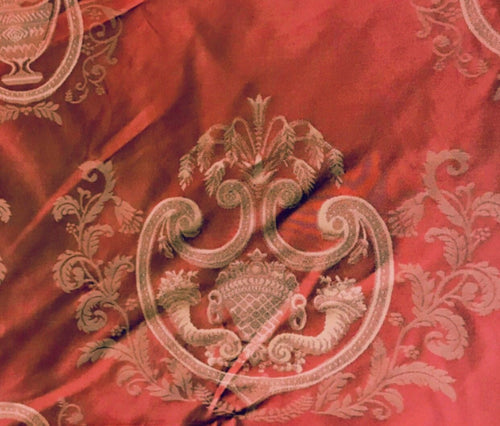 SWATCH 100% Silk Jacquard Neoclassical Fabric - Antique Persimmon Red Damask - Fancy Styles Fabric Boutique