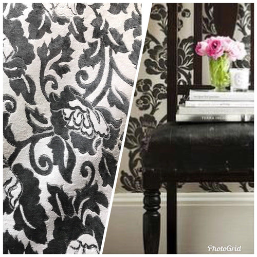 SWATCH Burnout Velvet Upholstery Fabric Floral Charcoal (almost Black) & White - Fancy Styles Fabric Boutique
