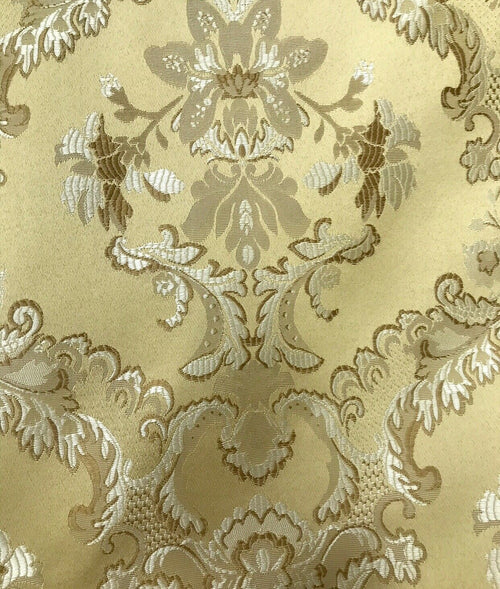 "NEW 110"" Wide- SALE! Designer Brocade Jacquard Fabric- Mustard Yellow Gold- Damask"
