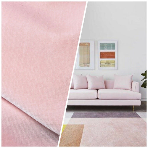 NEW! Prince Oliver - Designer 100% Cotton Made In Belgium Upholstery Velvet Fabric - Frosty Pink