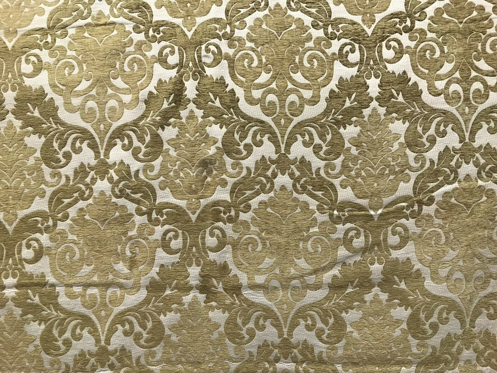 NEW Double Sided Burnout Chenille Velvet Fabric- Mustard Ivory Upholstery Damask