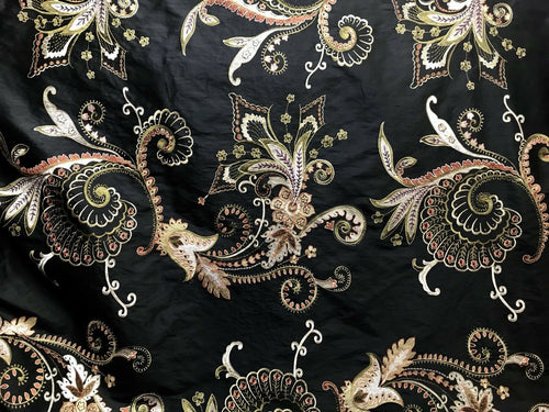 SALE 100% Silk Taffeta - Made in Italy- Floral Embroidered Fabric - Black