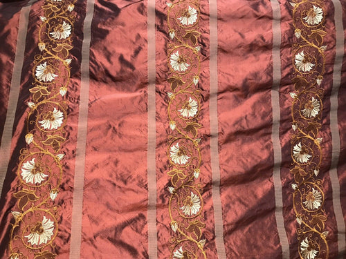 SALE! Designer 100% Silk Taffeta Embroidered Drapery Fabric - Rust Red Floral - Fancy Styles Fabric Boutique