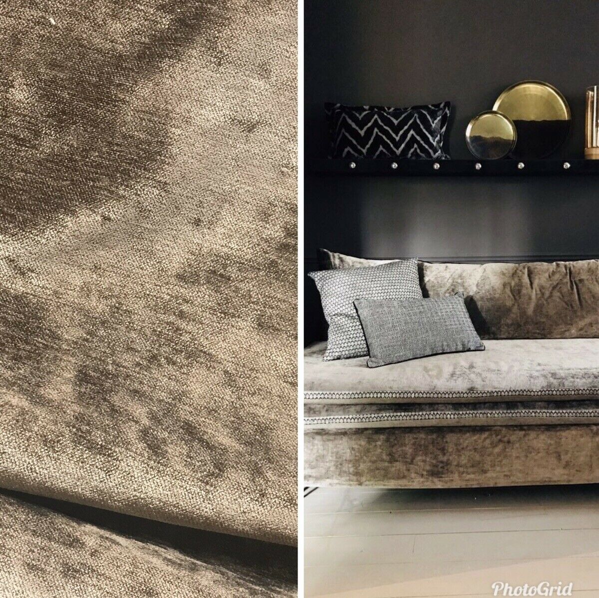Designer Velvet Upholstery Decorating Fabric - Dark Taupe- By The Yard