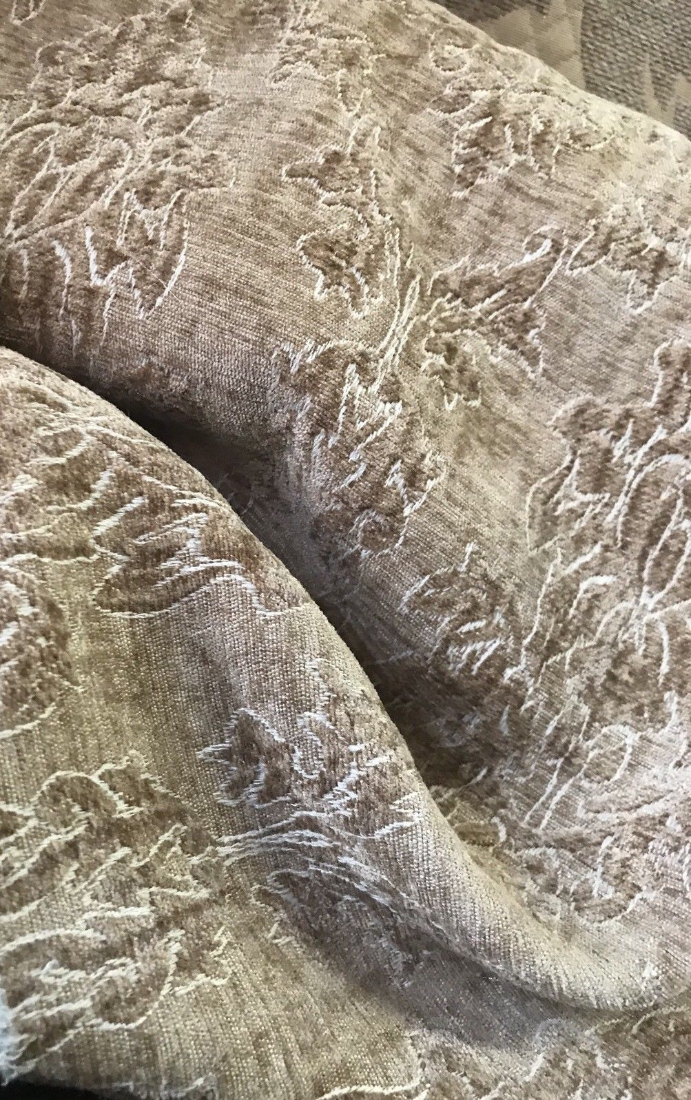 SALE! Designer Velvet Chenille Burnout Fabric - Mustard Beige - Fancy Styles Fabric Boutique