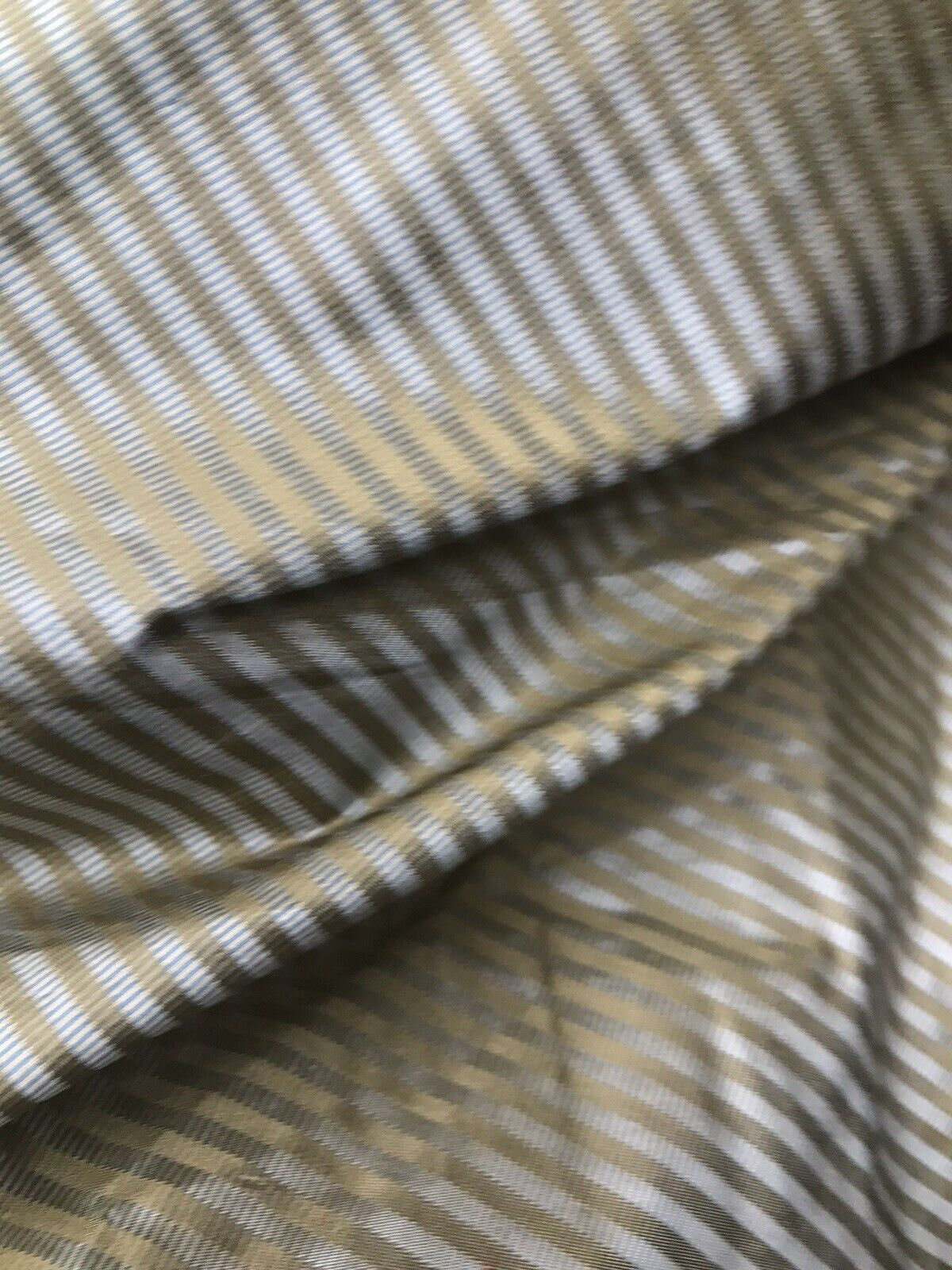 NEW! Designer 100% Silk Dupioni Taffeta Blue Gold Pinstripe Stripe Fabric
