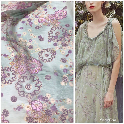 Designer 100% Silk Chiffon Fabric Mint Green & Lavender Japanese Inspired Motif - Fancy Styles Fabric Pierre Frey Lee Jofa