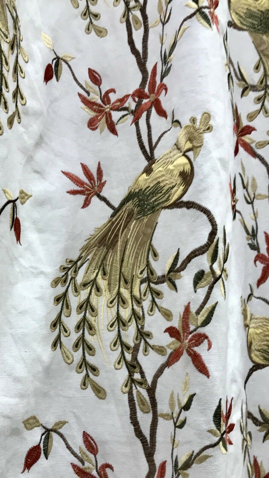 NEW! Designer Cotton Embroidered Peacock Drapery Fabric  - White
