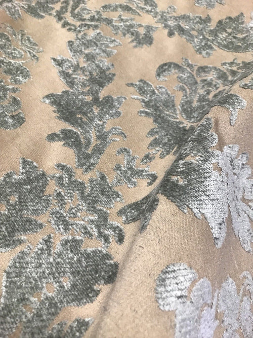 SWATCH Designer Damask Burnout Chenille Velvet Fabric - Aqua-Gray & Beige-Pink - Fancy Styles Fabric Boutique