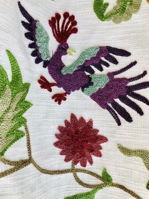 Novelty Crewel Birds Floral Embroidery Linen Inspired Fabric Upholstery Costume Drapery