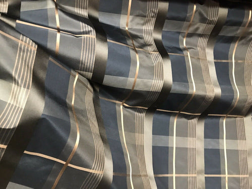 NEW Duchess Marilyn Designer 100% Silk Taffeta Plaid Tartan Fabric- Black Gold Brown BTY