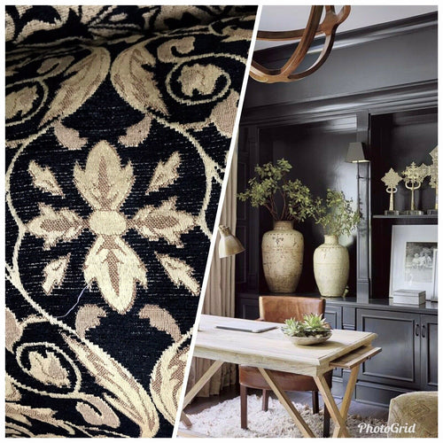 NEW SALE! Velvet Chenille Burnout Upholstery Drapery Fabric -Black & Gold Floral