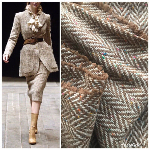 NEW Novelty Designer Wool Oversized Herringbone Chevron Pattern Tweed Fabric - Camel- Italy