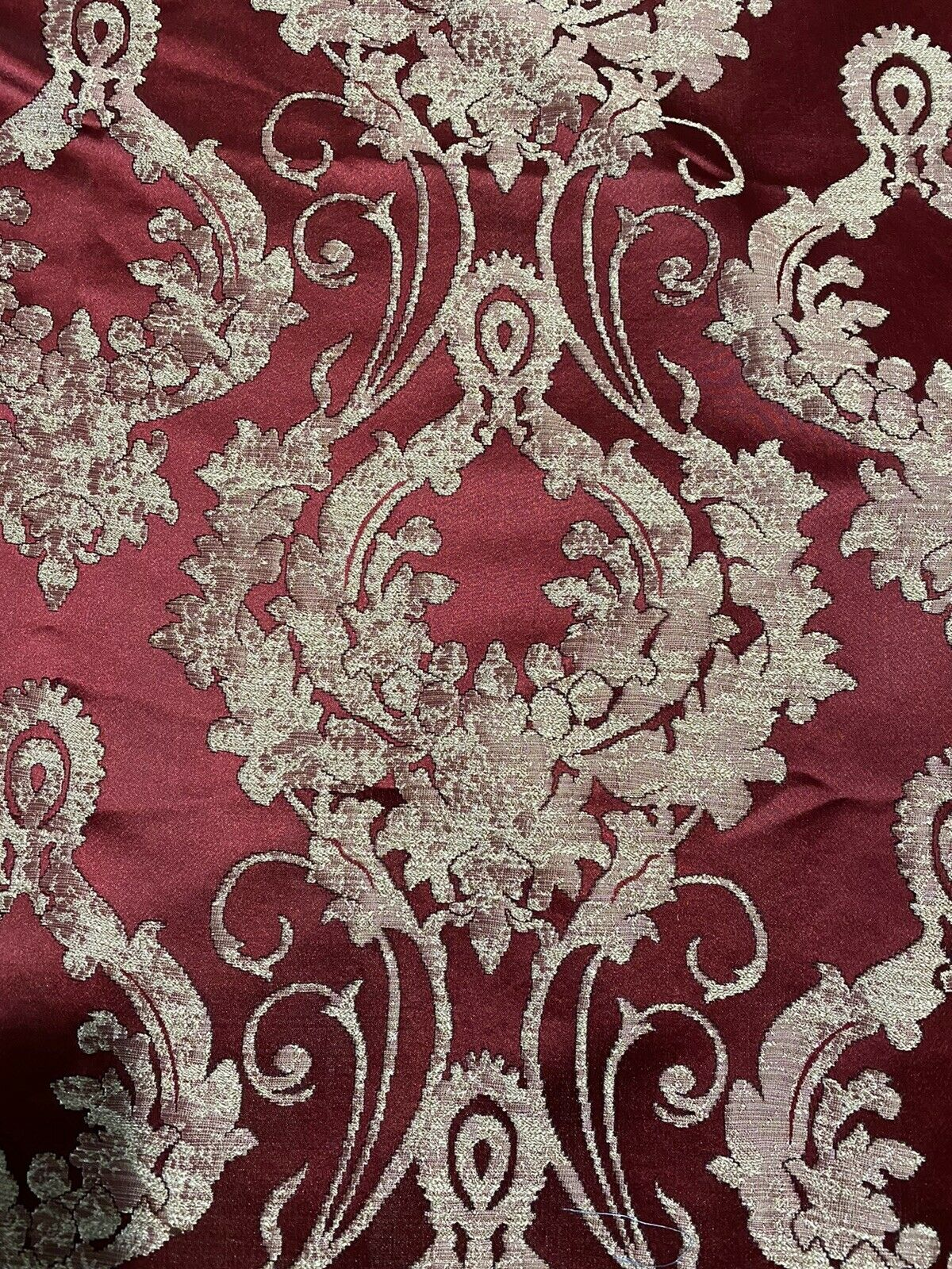 NEW! Fat Quarter- Lord Tustin Designer Damask Satin Drapery Upholstery Fabric - Dark Red