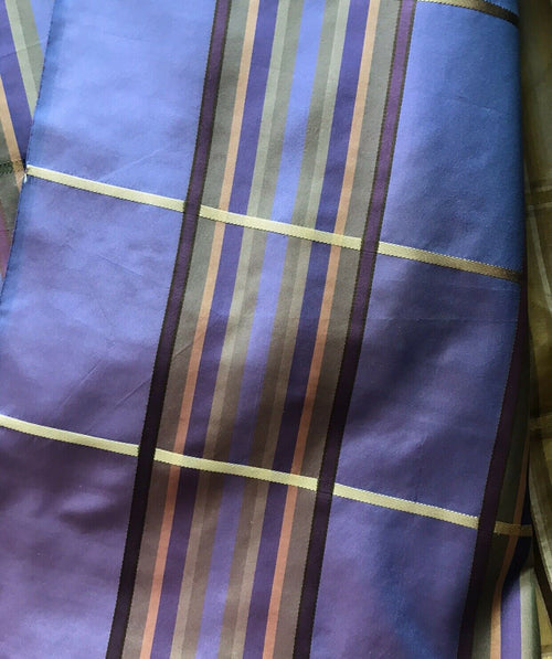 SALE! Designer 100% Silk Taffeta Dupioni Plaid Tartan Ribbon Fabric Purple