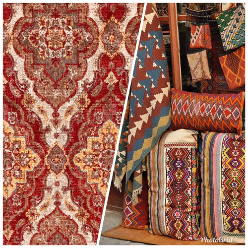NEW Double Sided Kilim Rug Inspired Upholstery Fabric Sold By The Yard- Red