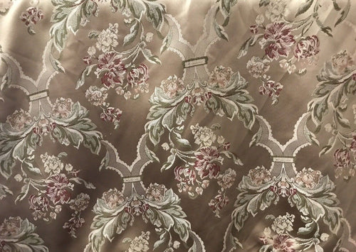 "SALE! Fat Quarter 18"" X 20"" Jacquard Satin Fabric- Antique Floral Rose Gold - Fancy Styles Fabric Boutique"