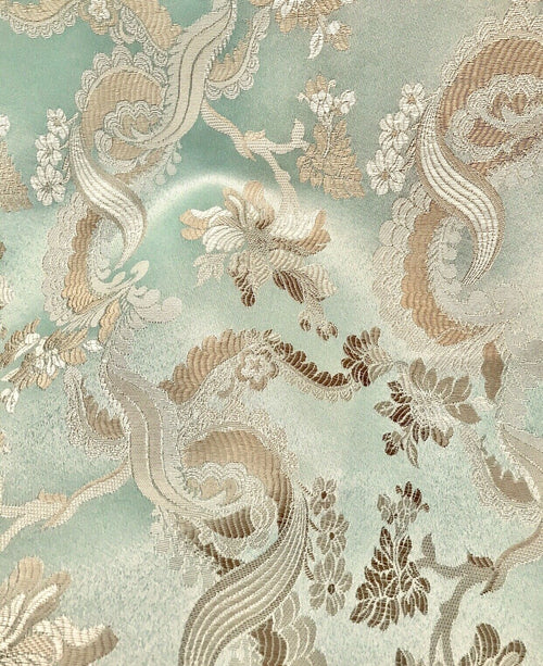 Neoclassical Floral Damask Satin Fabric - Mint Green Aqua- Upholstery