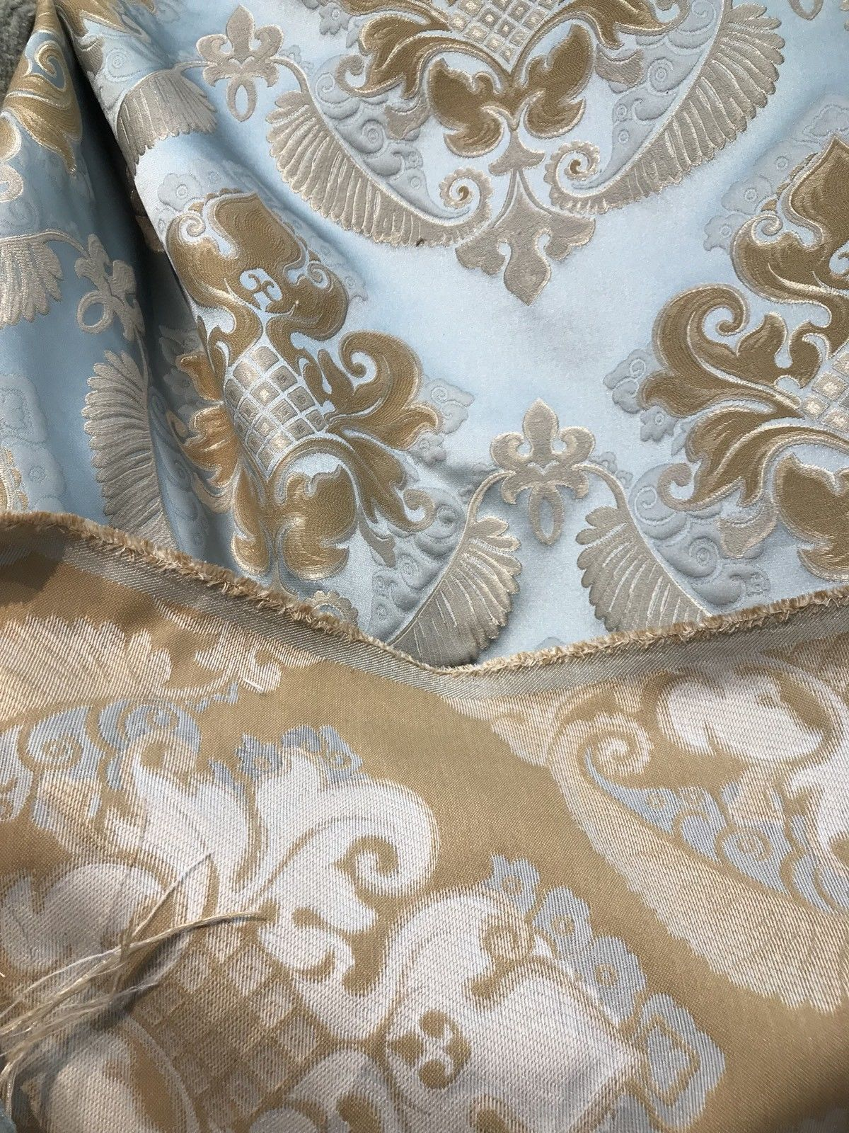 Designer Brocade Satin Fabric- Antique Blue & Honey - Damask- Upholstery - Fancy Styles Fabric Pierre Frey Lee Jofa