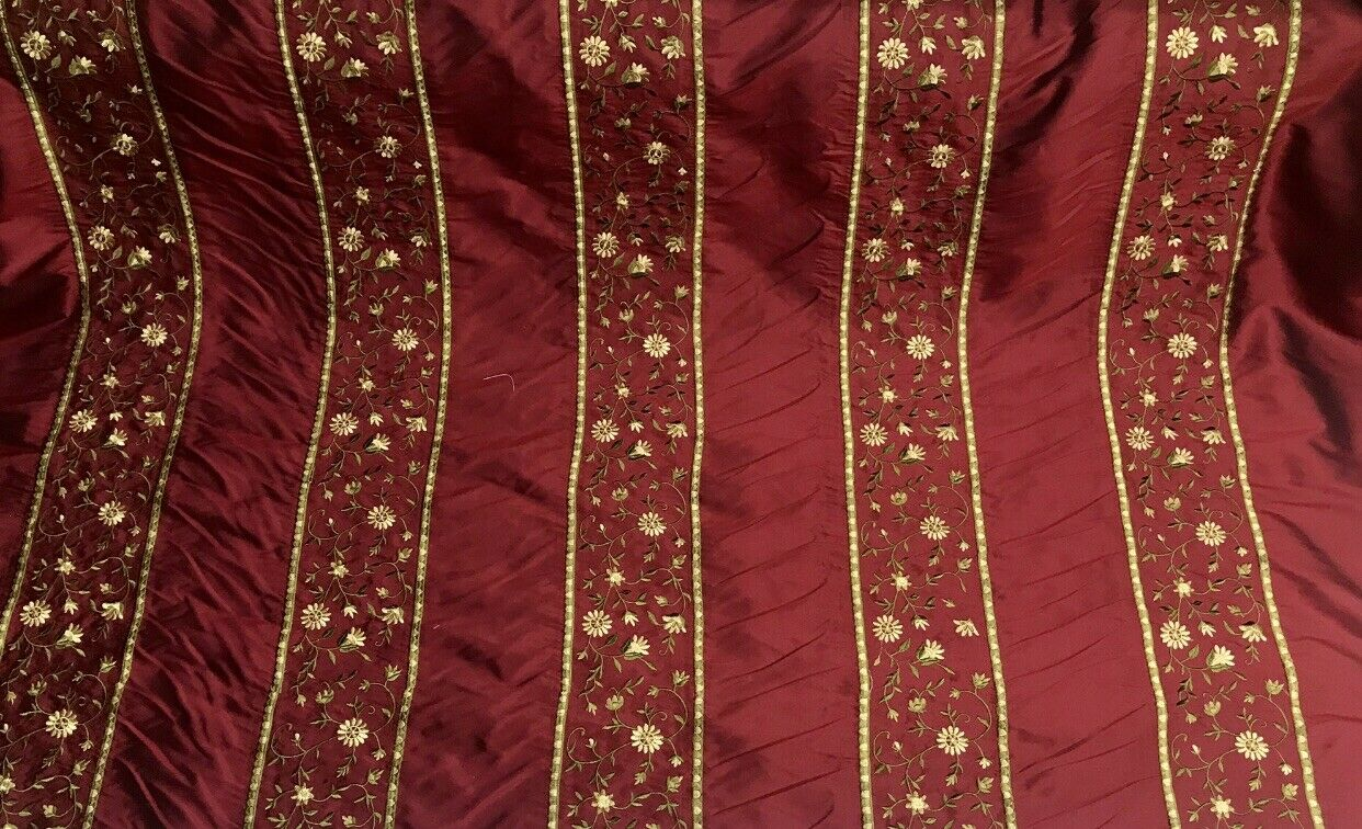 NEW! 100% Silk Dupioni Embroidered Floral Stripes Fabric- Dark Red