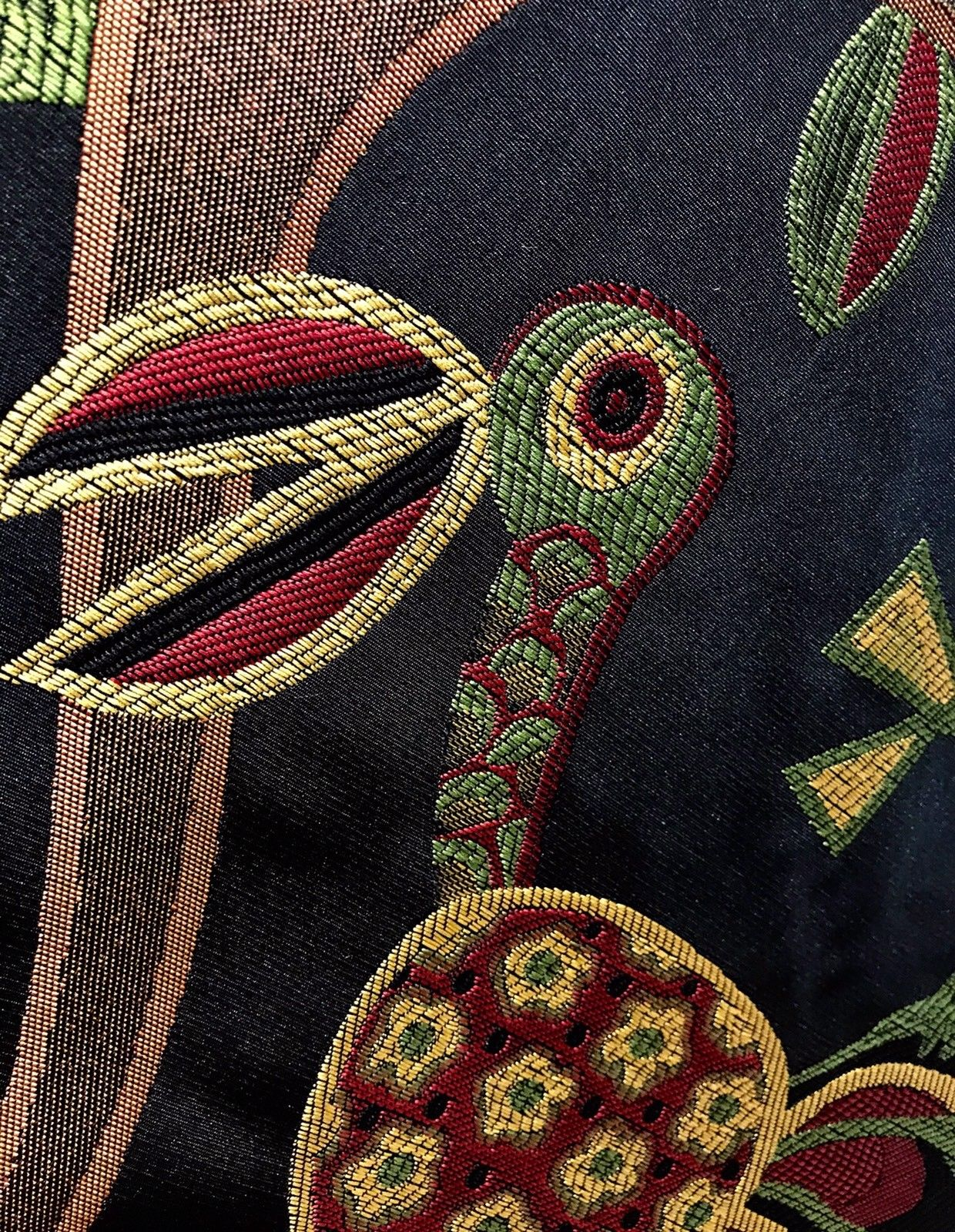 NEW! SALE! Designer Brocade Fabric- Bird Motif - Black - Upholstery - Fancy Styles Fabric Boutique