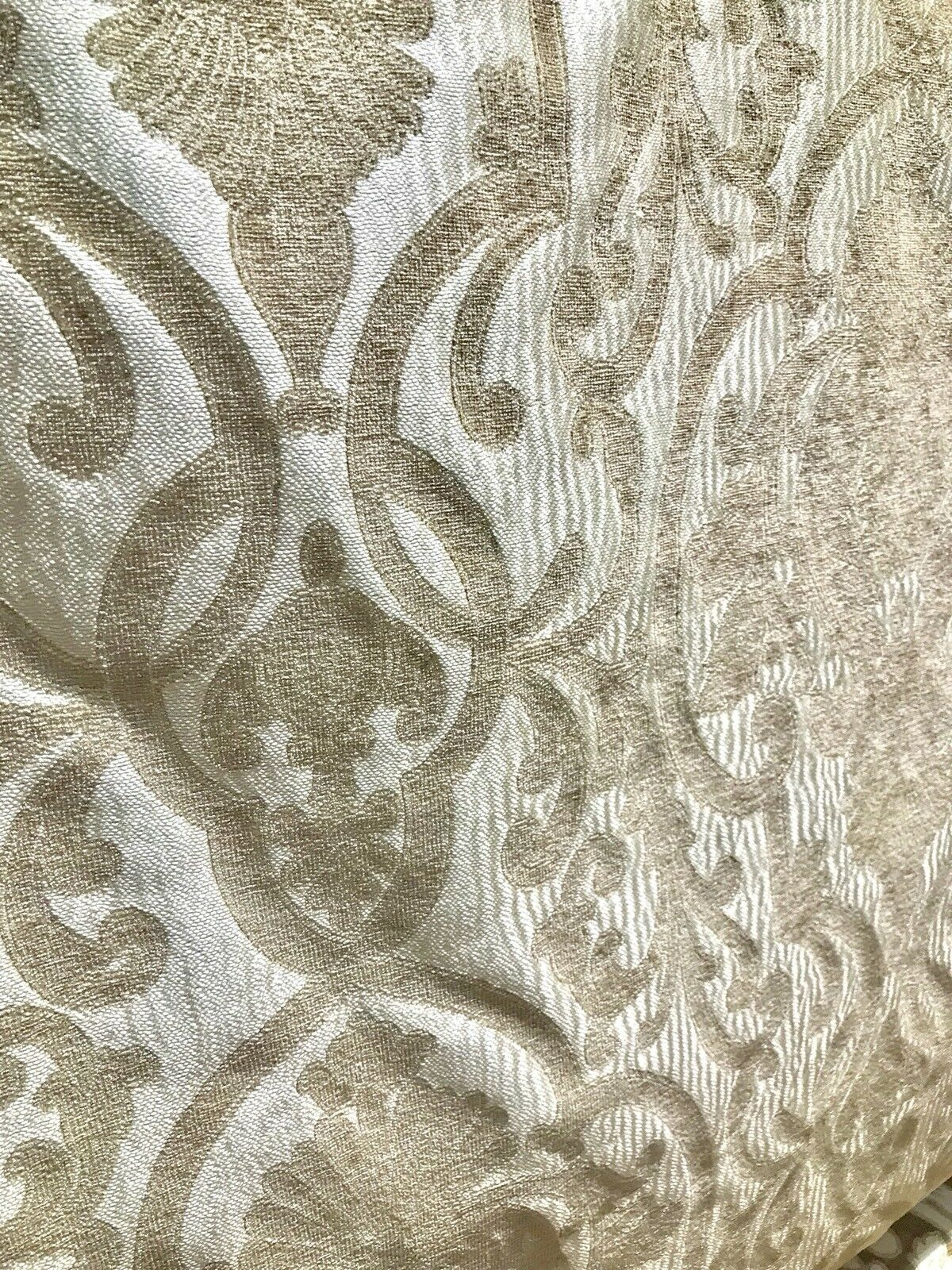 SWATCH Double Sided Burnout Chenille Velvet Fabric- Taupe Upholstery Damask