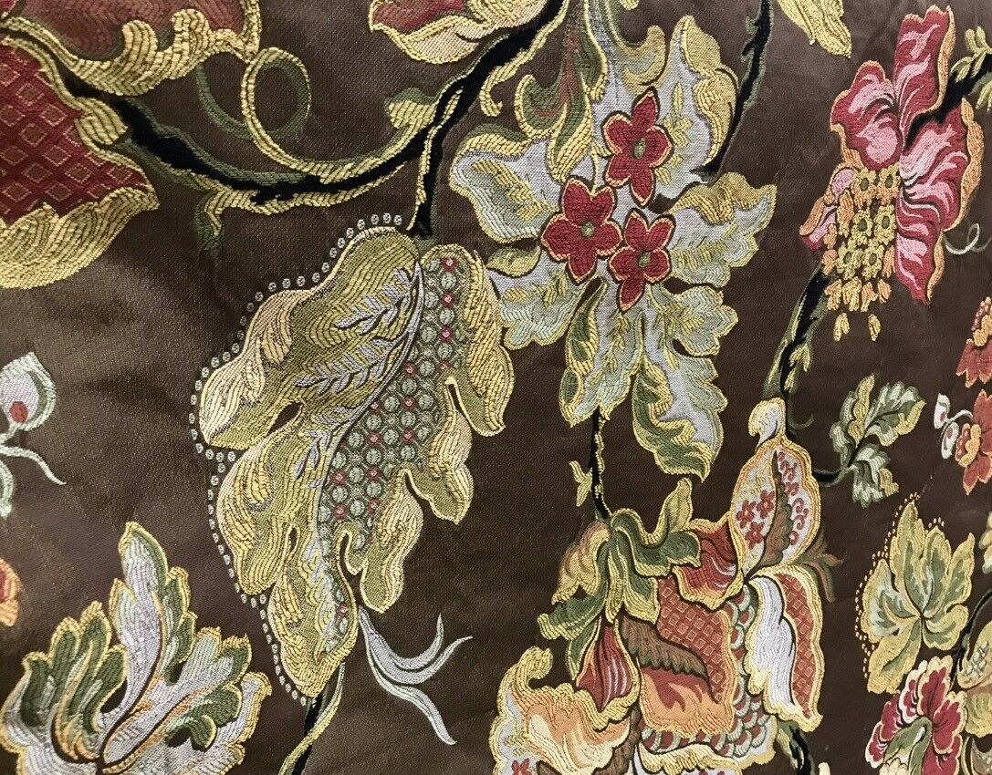 NEW Designer Floral Brocade Damask Upholstery Fabric- Made In Belgium- Brown