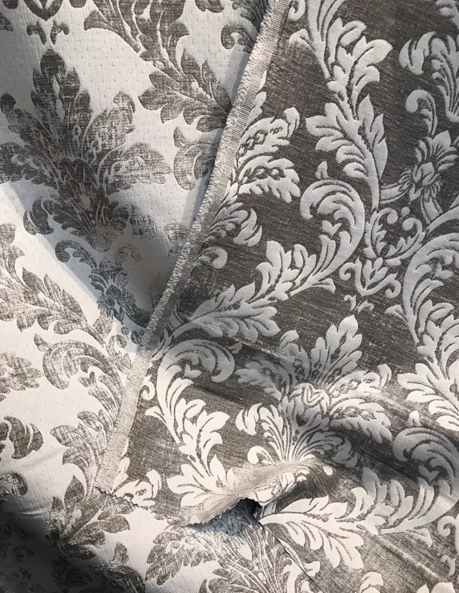 Designer Double Sided Brocade Jacquard Fabric- White And Silver  - Upholstery - Fancy Styles Fabric Pierre Frey Lee Jofa