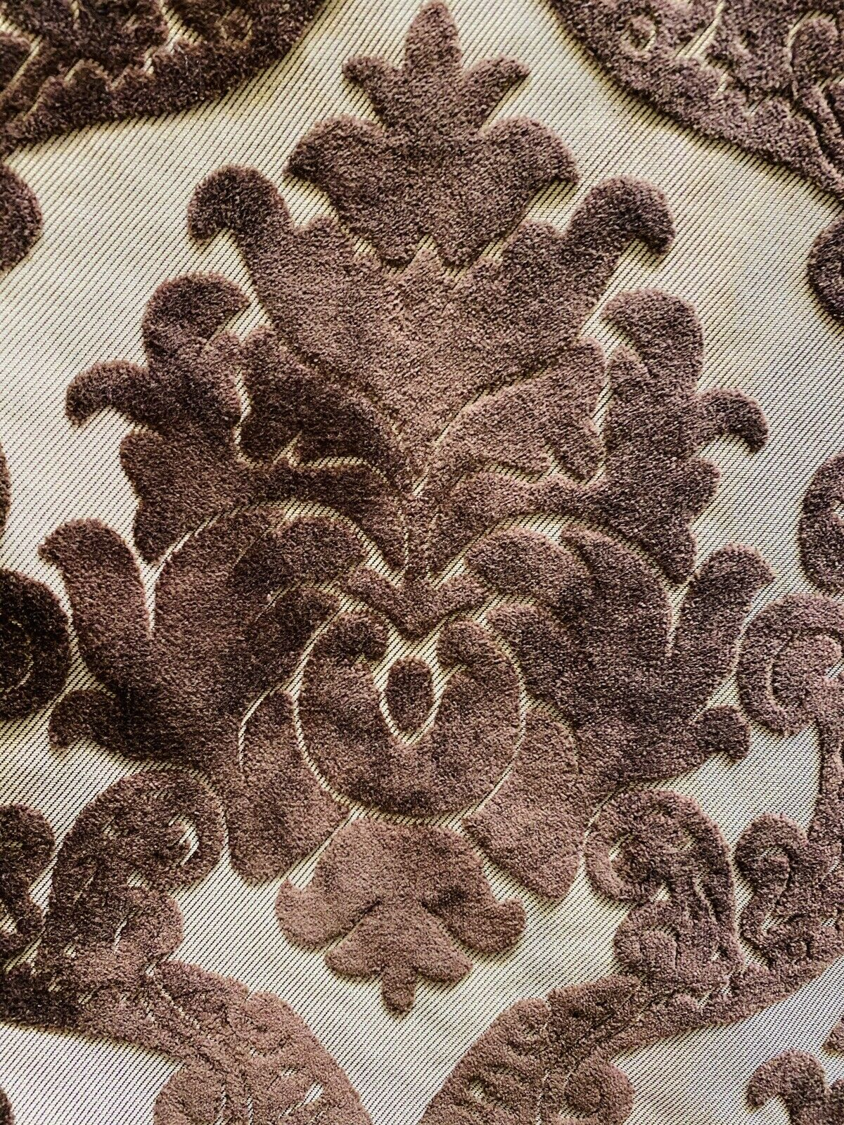 NEW Designer Damask Burnout Chenille Velvet Fabric -  Brown BTY