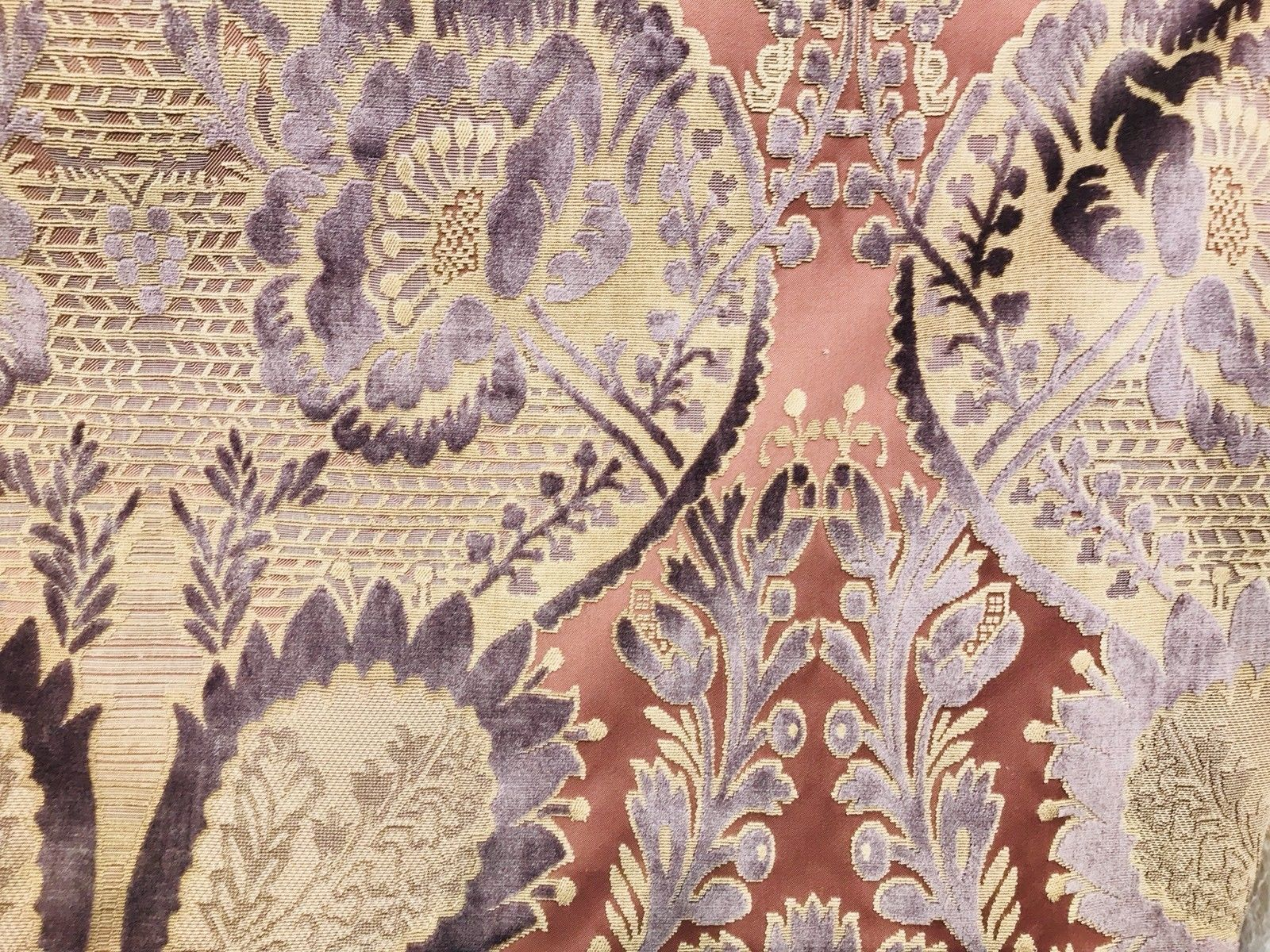 SWATCH- Italian Burnout Damask Chenille Velvet Fabric Lilac & Pink- Upholstery - Fancy Styles Fabric Boutique