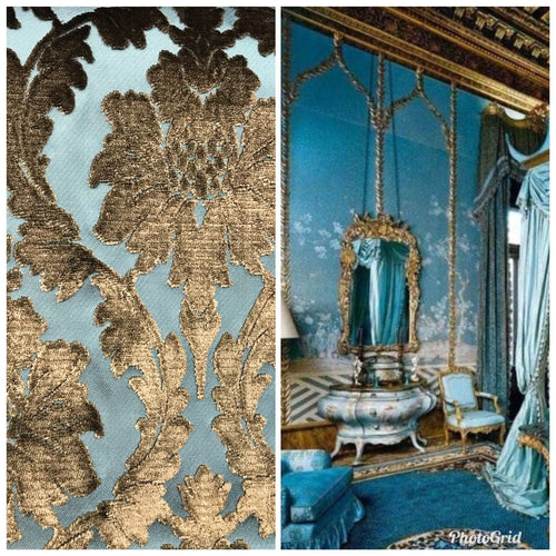 Novelty Italian Burnout Damask Chenille Velvet Fabric Bronze & Teal- Upholstery - Fancy Styles Fabric Boutique