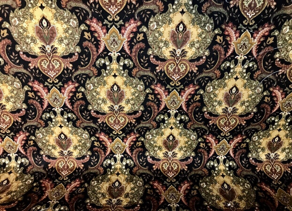 NEW Designer Cotton Decorating Fabric Warm Black Floral Brocade Print LLCBK0001