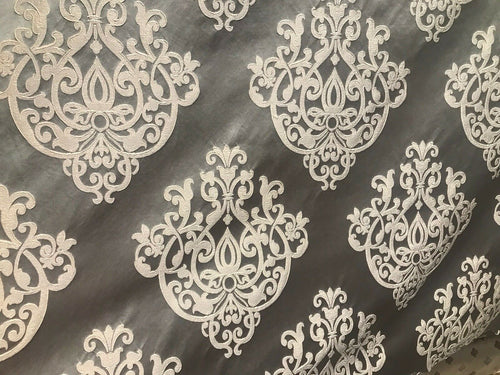 NEW! Designer Brocade Satin Fabric- Charcoal Gray Ivory- Upholstery Damask