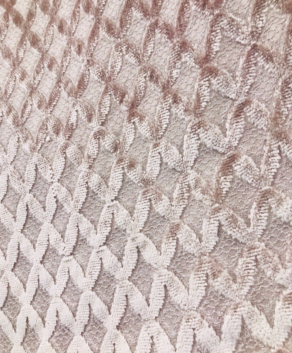 SWATCH- Made In Italy Designer Upholstery Burnout Chenille Velvet Fabric Pink - Fancy Styles Fabric Boutique