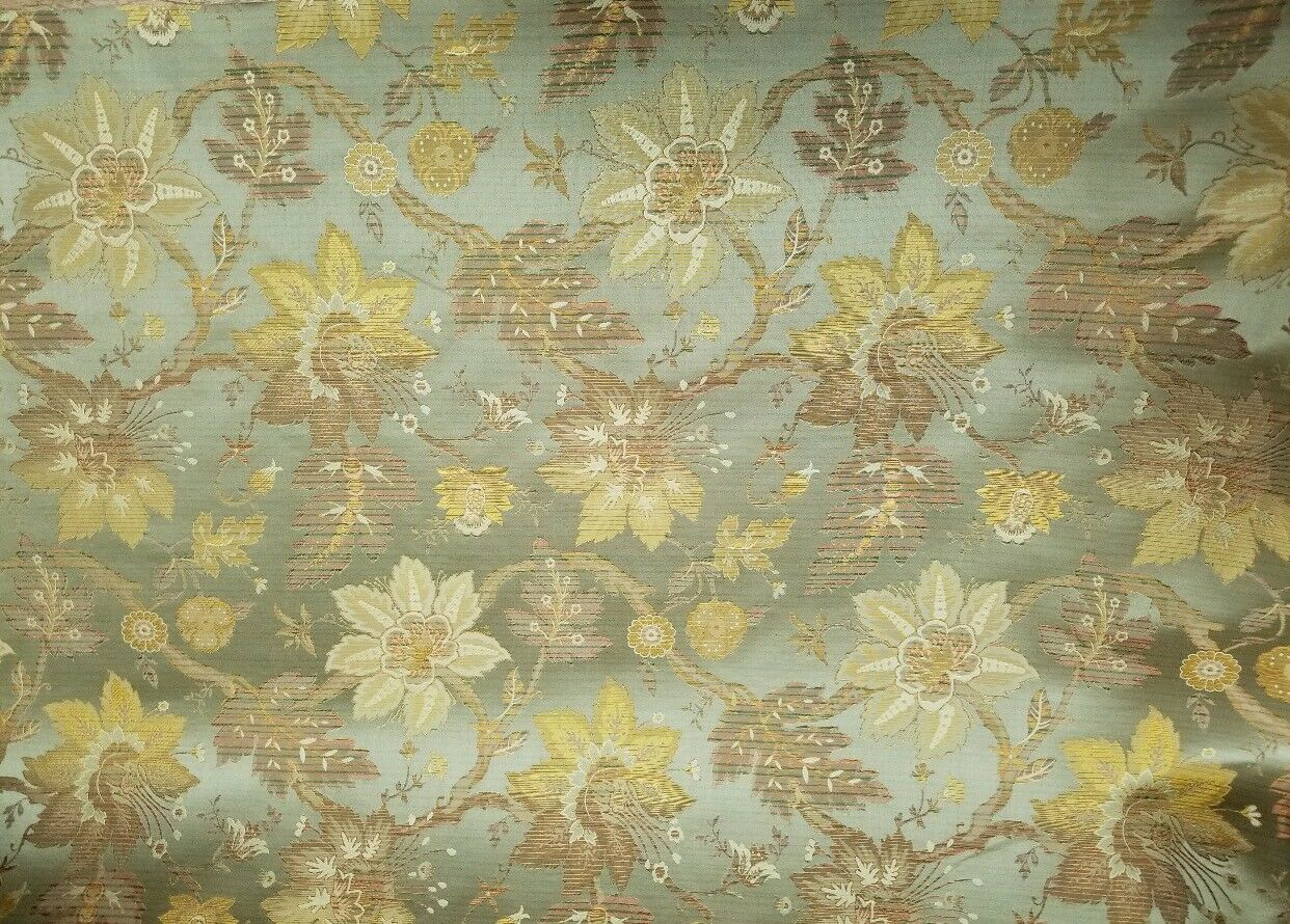 Designer 100% Silk Brocade Satin Fabric 18th C. Embroidered Floral Green