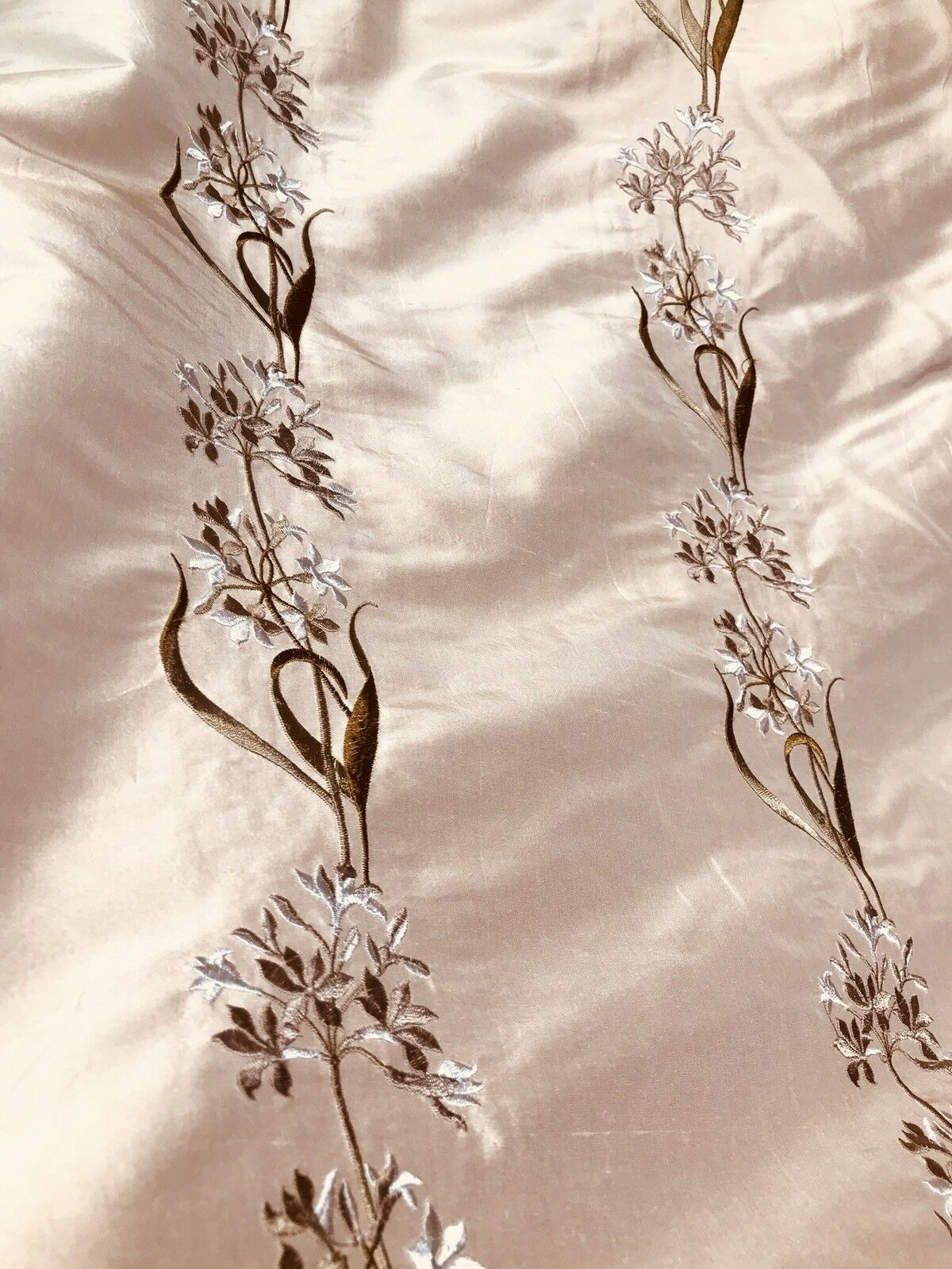 SALE! Designer 100% Silk Taffeta Embroidered Fabric - Pink