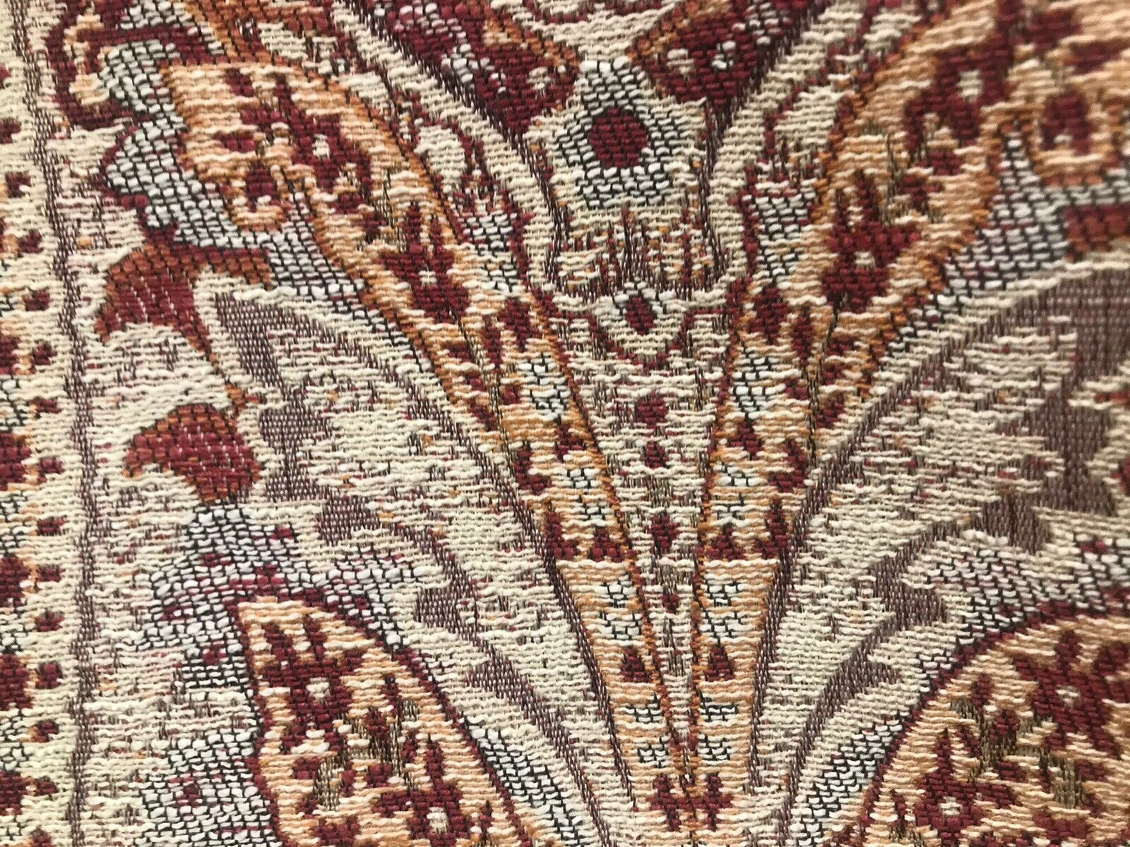 NEW Double Sided Aztec Kilim Rug Inspired Chenille Fabric- Rust Red Upholstery