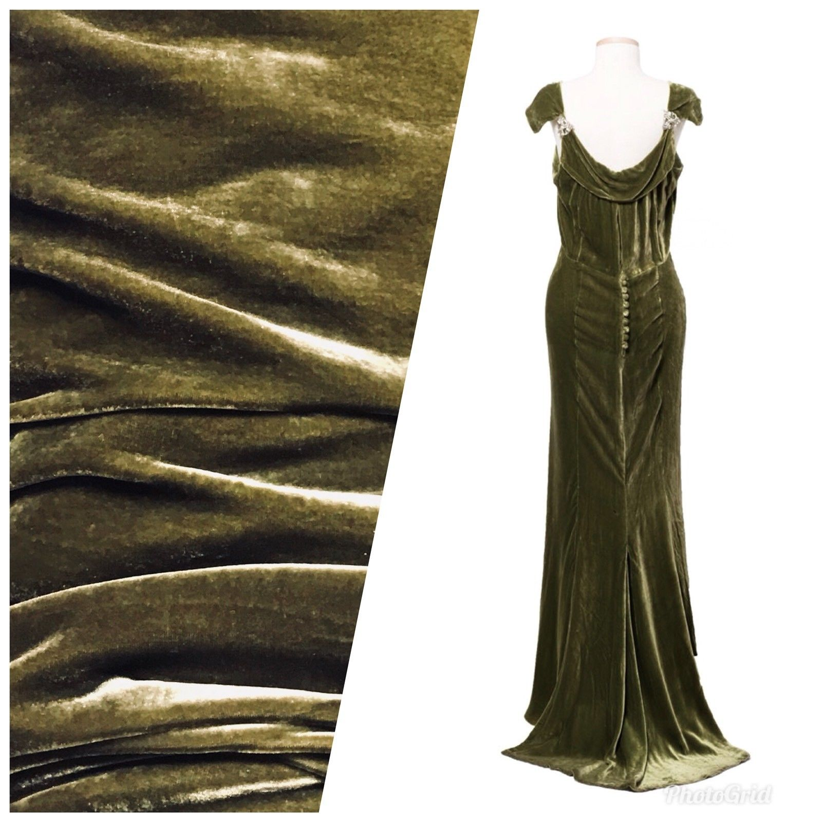 Close-Out Designer Runway Silk Rayon Velvet - Antique Olive Green - Fancy Styles Fabric Pierre Frey Lee Jofa