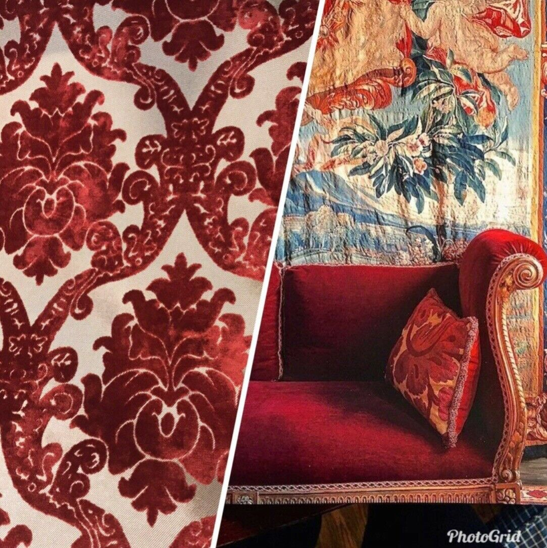 Novelty Brocade Burnout Velvet Fabric Antique Red Chandelier Floral