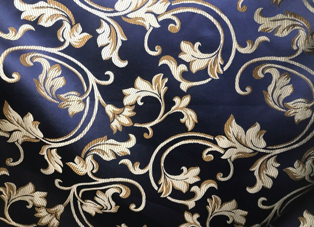 SALE Neoclassical Brocade Satin Damask Upholstery Fabric- Louis Blue Navy