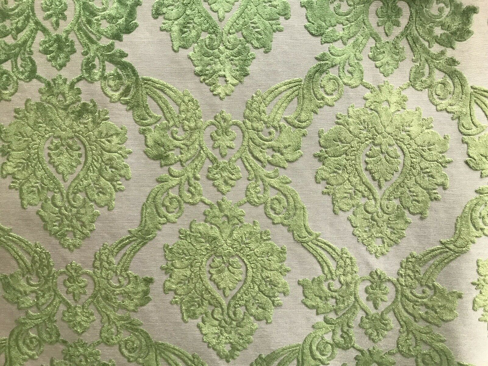 NEW Designer Velvet Chenille Burnout Damask Upholstery Fabric - Green BTY