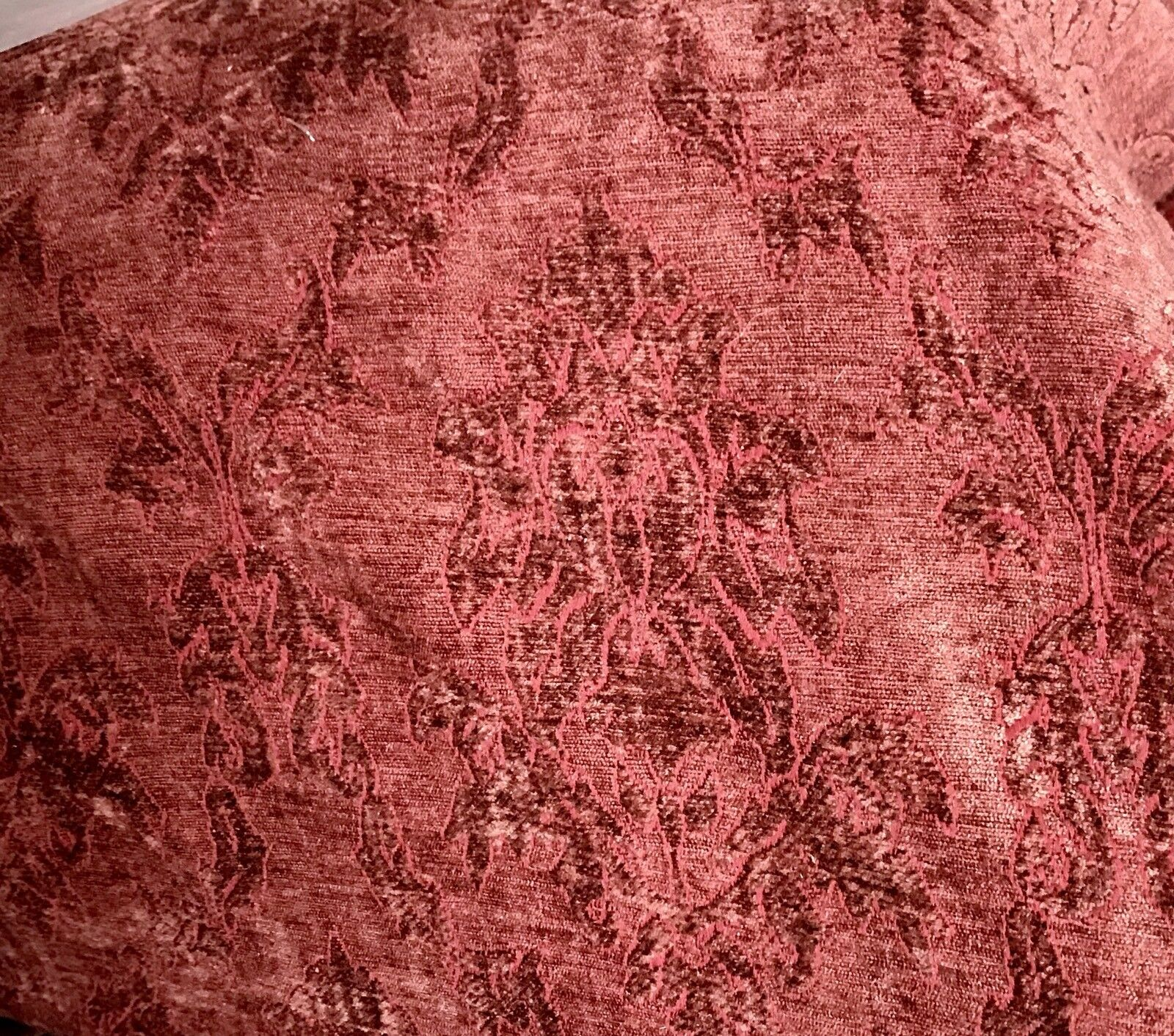 SWATCH Designer Velvet Chenille Burnout Fabric - Antique Raspberry Red